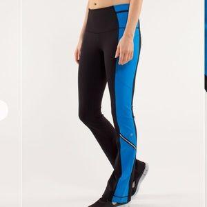 Lululemon Run: Ice Queen Pant Black/Beaming Blue 8